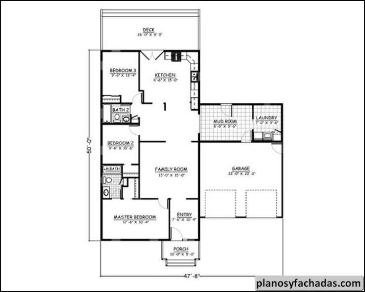 Plano de casa 2961 un lugar de vida encantador de ranch for Planos para cocina de lena