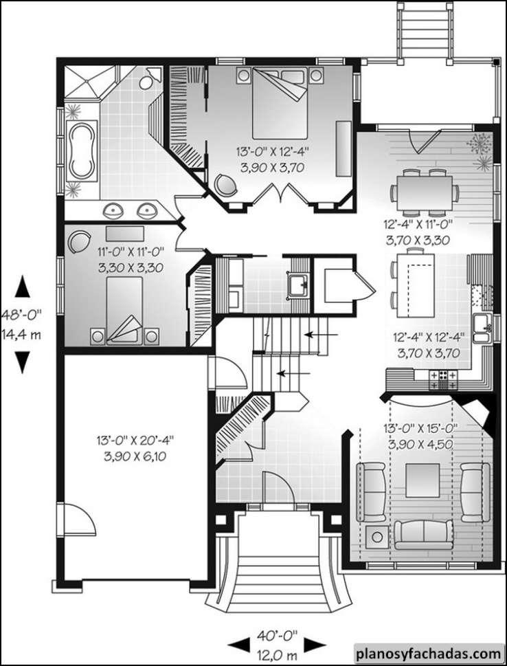 Plano de casa 8577 9 39 techo en todo el primer nivel en for Planos para tu casa